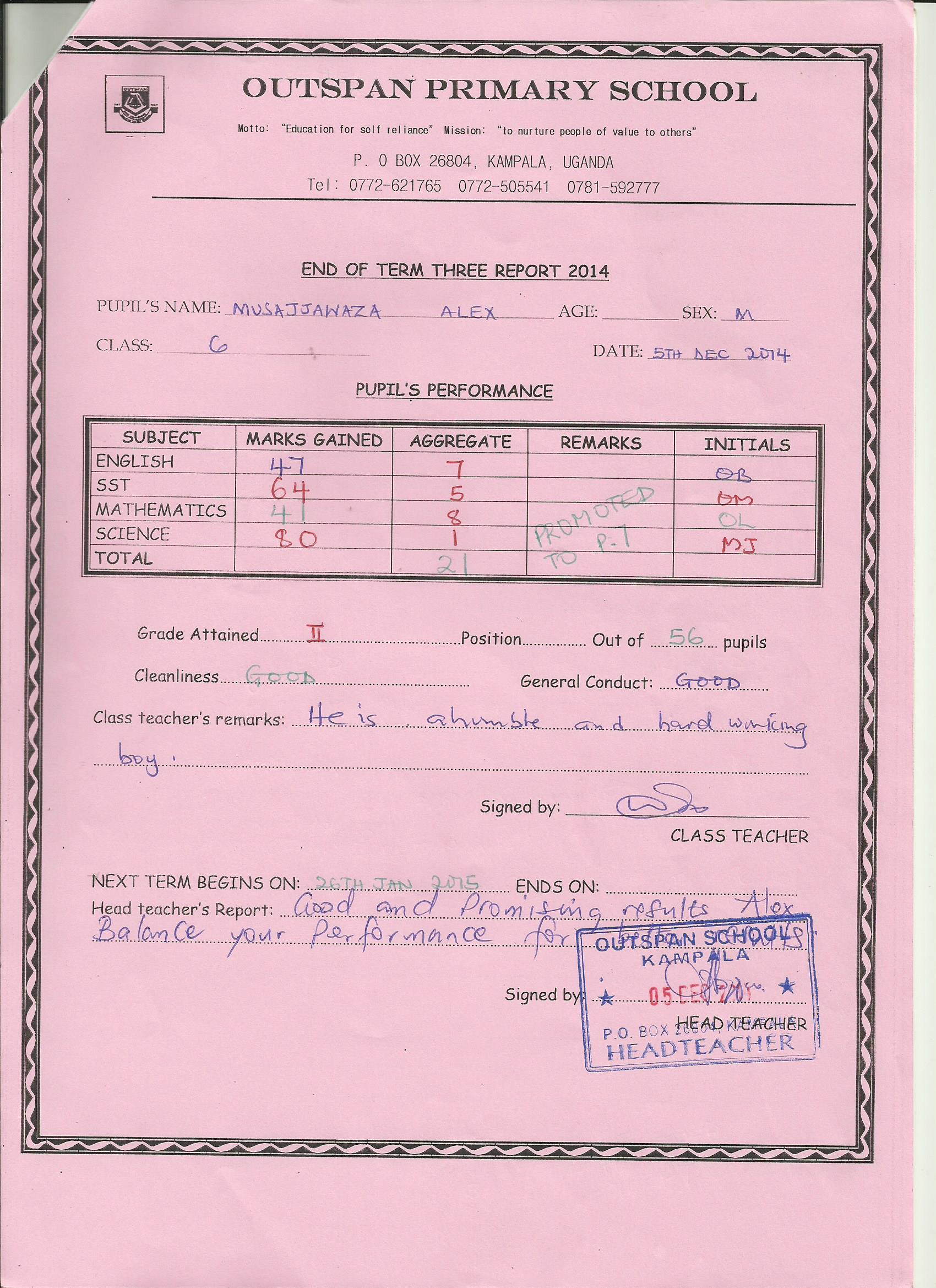 End of term three Alex Musajja-s report form 001