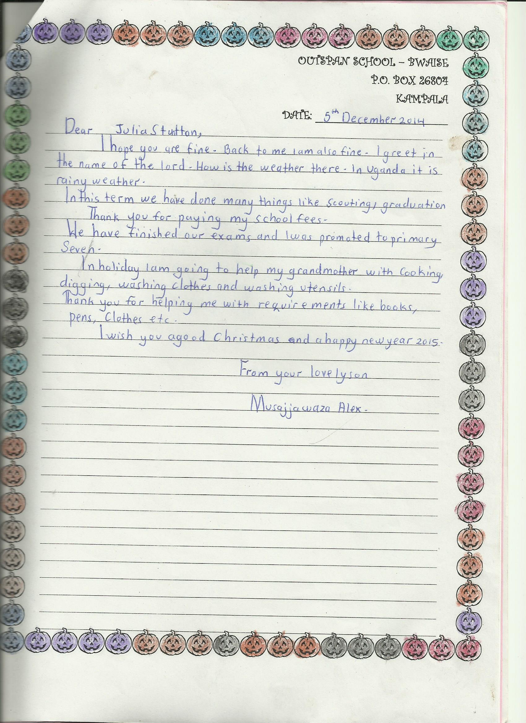 Term three  Alex Musajja-s letter to Juia Stanton 001